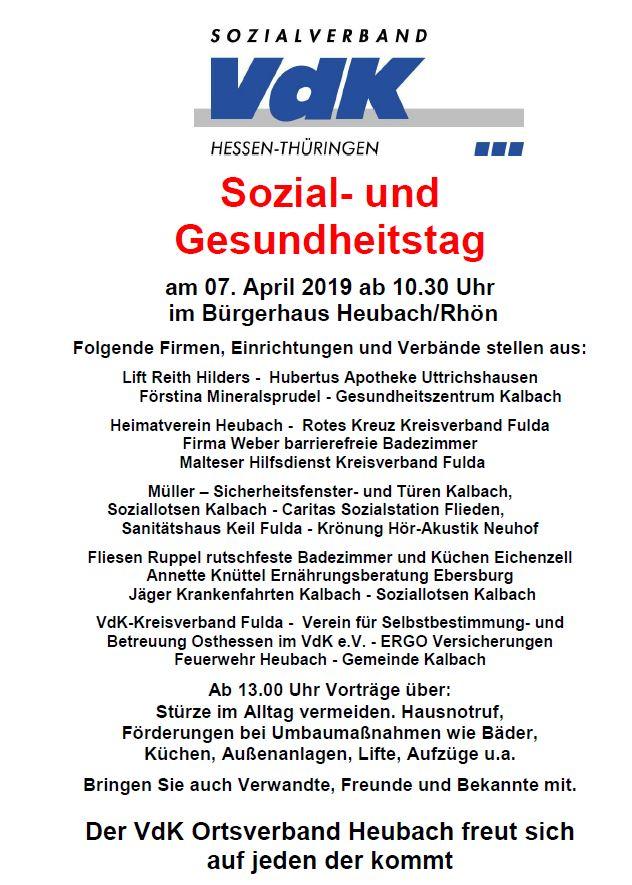 Ausstellerverzeichnis zum VdK Sozial- und Gesundheitstag 2019 in Heubach/Rhön