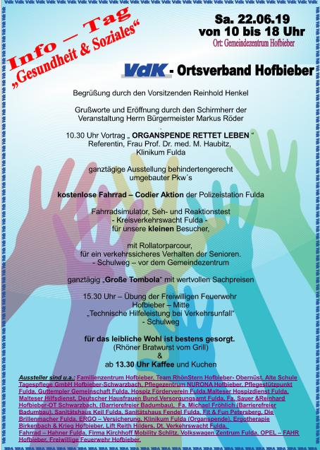 Ausstellerverzeichnis zum VdK Info-Tag Gesundheit und Soziales des Ortsverbandes Hofbieber