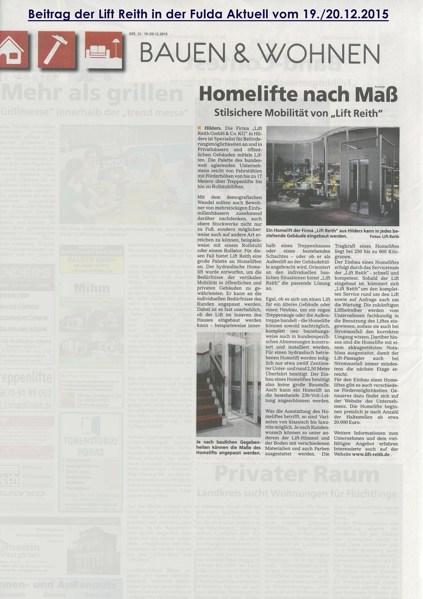 """Beitrag der Lift Reith """"Homelifte nach Maß"""" in der Fulda Aktuell"""