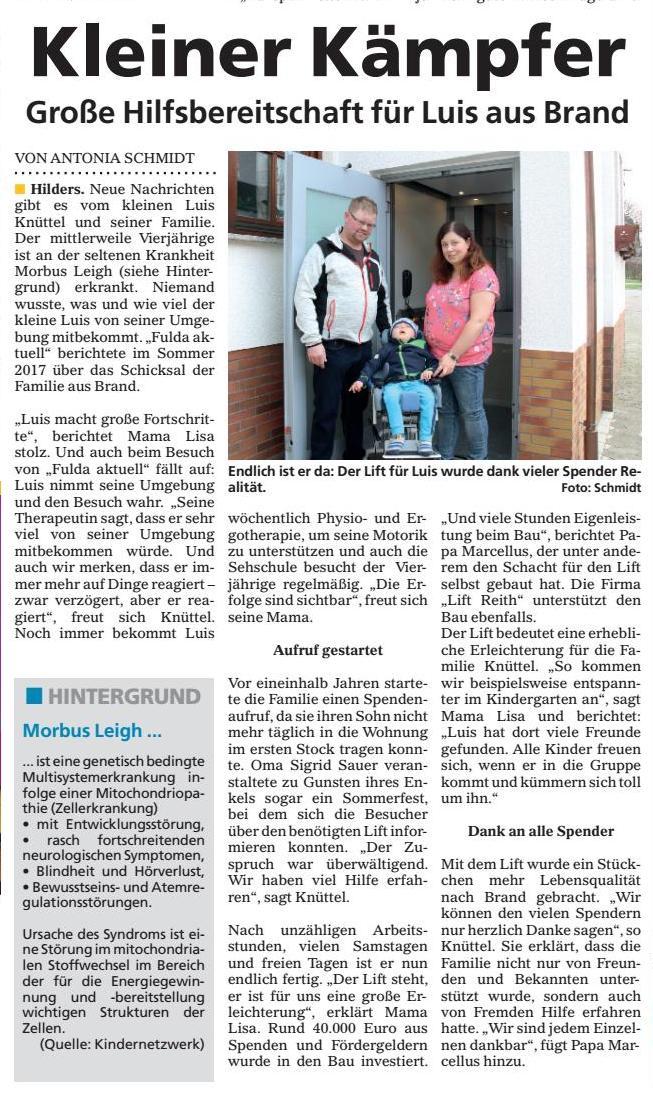 Bericht der Zeitung Fulda aktuell zum kleinen Luis aus Brand