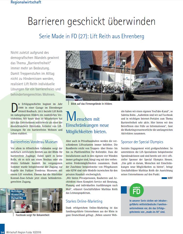 Beitrag des IHK-Magazin Wirtschaft Region Fulda Sonderthema MADE IN FD über Lift Reith