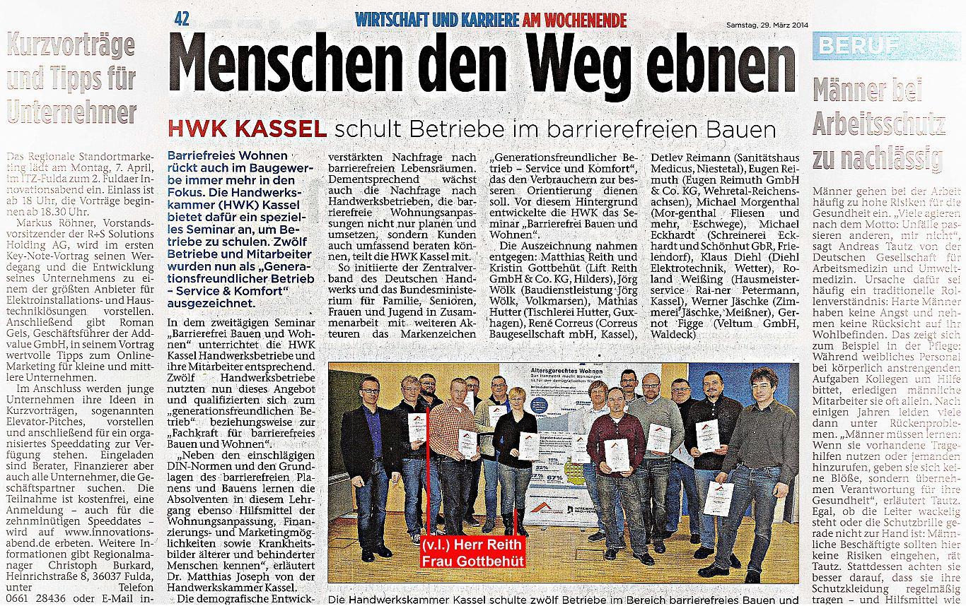 Die Lift Reith ist durch die Handwerkskammer Kassel zertifizierter Berater für barrierefreies Wohnen