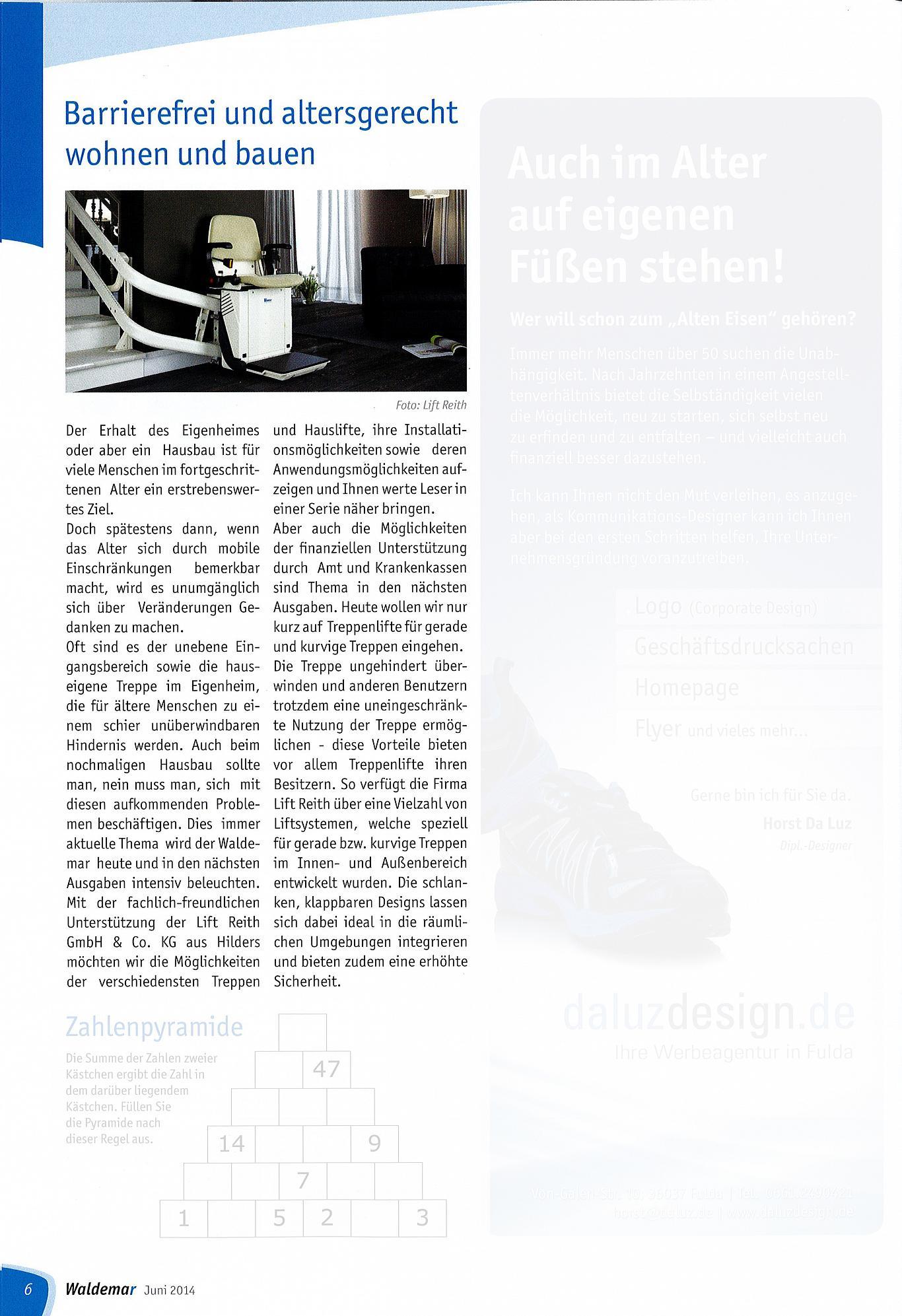 """Lift Reith im Seniorenmagazin """"Waldemar"""" Ausgabe 06/2014"""