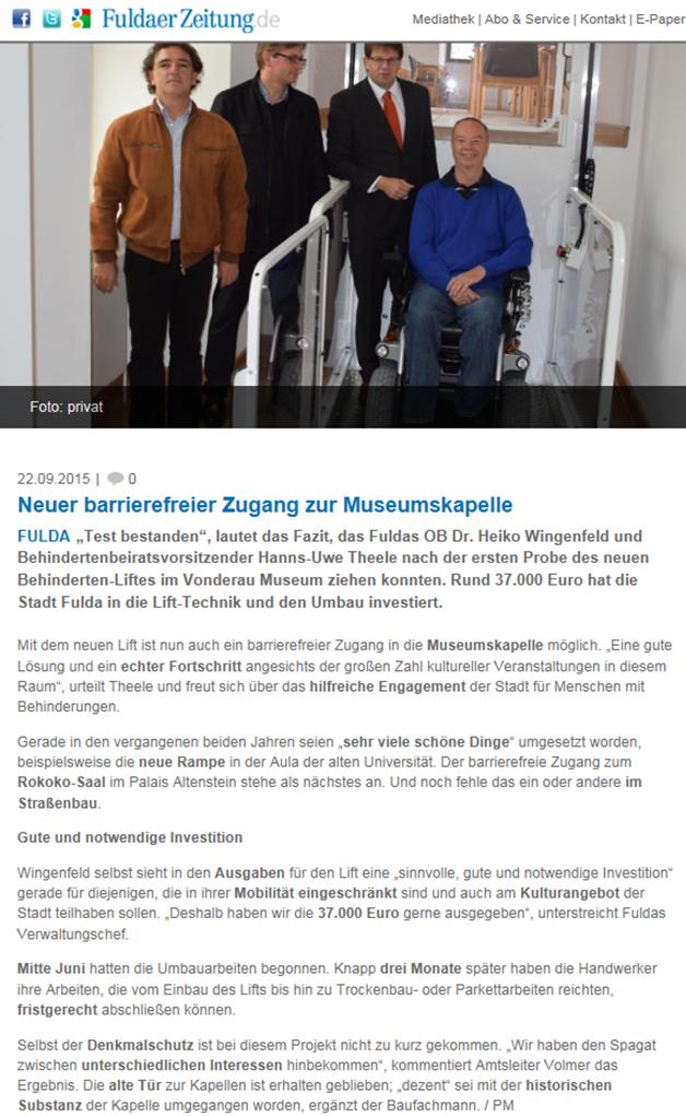 Neuer barrierefreier Zugang im Vonderau Museum Fulda dank Lift Reith aus Ehrenberg