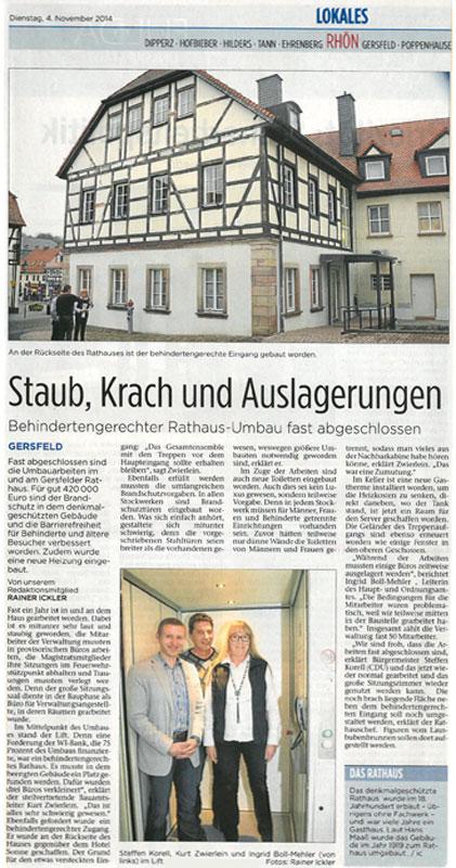 Presseanzeige Fuldaer Zeitung zu Rathaus Gersfeld