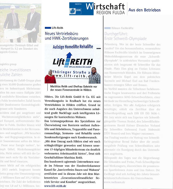 """IHK - Beitrag Lift Reith """"Neues Vertriebsbüro und HWK-Zertifizierung"""""""
