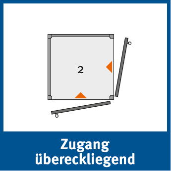 Die Personenlifte der Reihe BLH-D können mit einem Zugang über Eck versehen werden, bei welchem man an der vorderen Stelle einsteigen und an der linken oder rechten Seite aussteigen kann