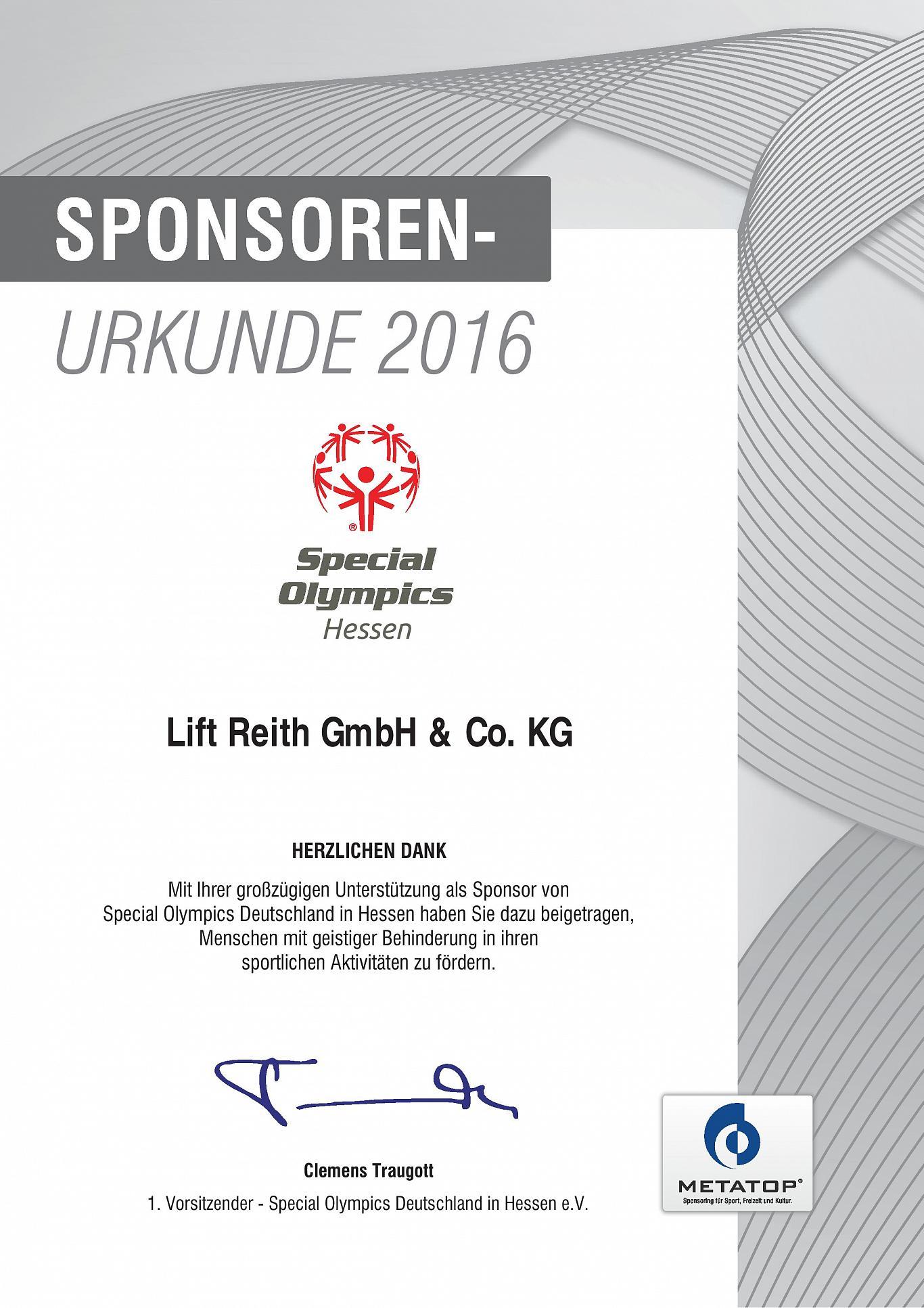 Sponsoren Urkunde Special Olympics Hessen 2016