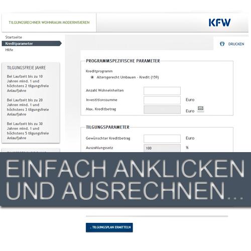 Tilgungsrechner der KfW für Altersgerecht Umbauen