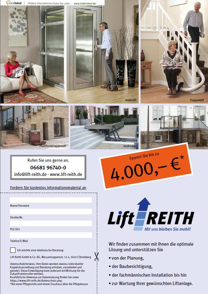 Lift Reith Inserat in Ein Leben lang zu Hause Wohnen Landkreis Gießen Auflage 1