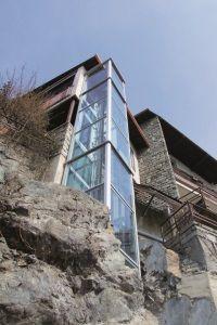 Der Panoramalift BLH-D eignet sich auch für den Anbau als Aussenlift an Ihrem Gebäude
