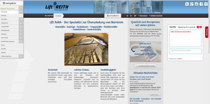 Die neue,  bedienerfreundlichere Homepage des Aufzug - Spezialisten Lift Reith ist online